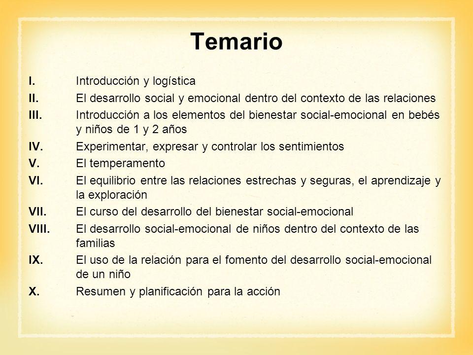 Temario I.Introducción y logística II.El desarrollo social y emocional dentro del contexto de las relaciones III.Introducción a los elementos del bien