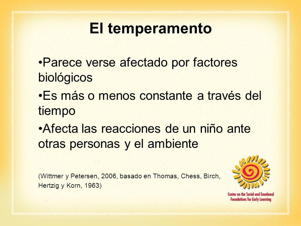 El temperamento Parece verse afectado por factores biológicos Es más o menos constante a través del tiempo Afecta las reacciones de un niño ante otras