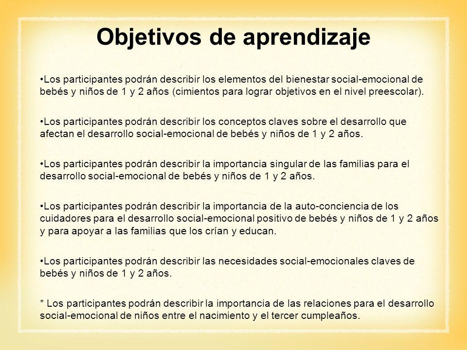 Objetivos de aprendizaje Los participantes podrán describir los elementos del bienestar social-emocional de bebés y niños de 1 y 2 años (cimientos par