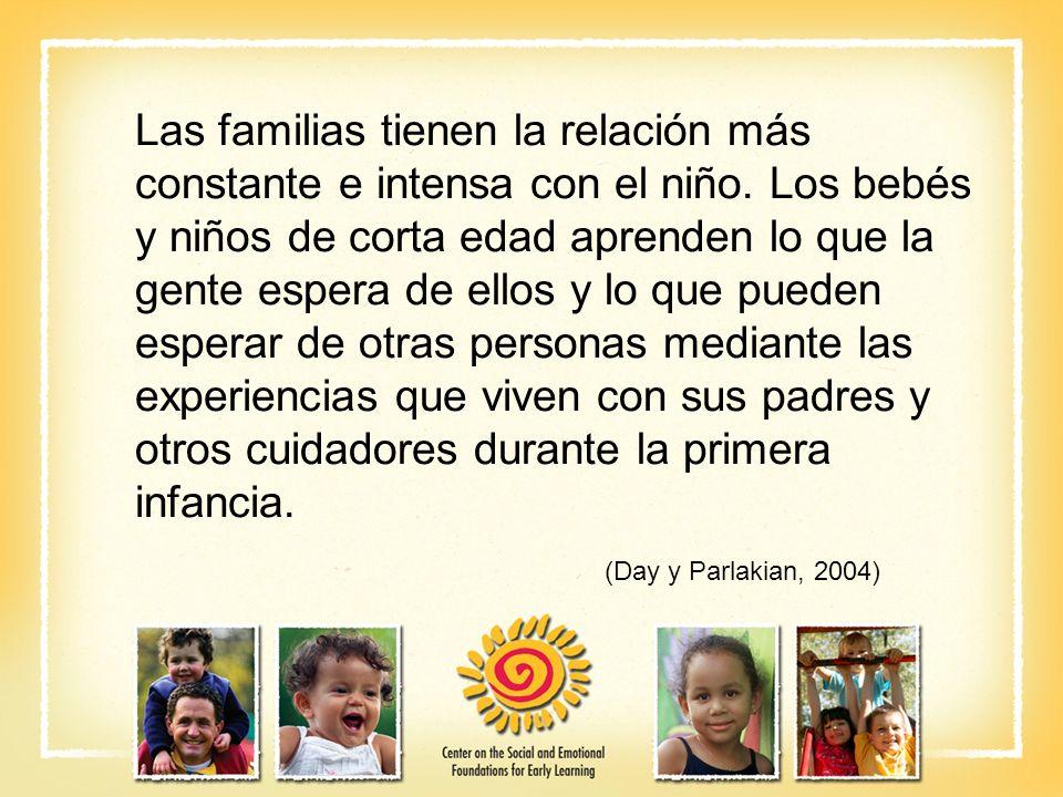 Las familias tienen la relación más constante e intensa con el niño. Los bebés y niños de corta edad aprenden lo que la gente espera de ellos y lo que