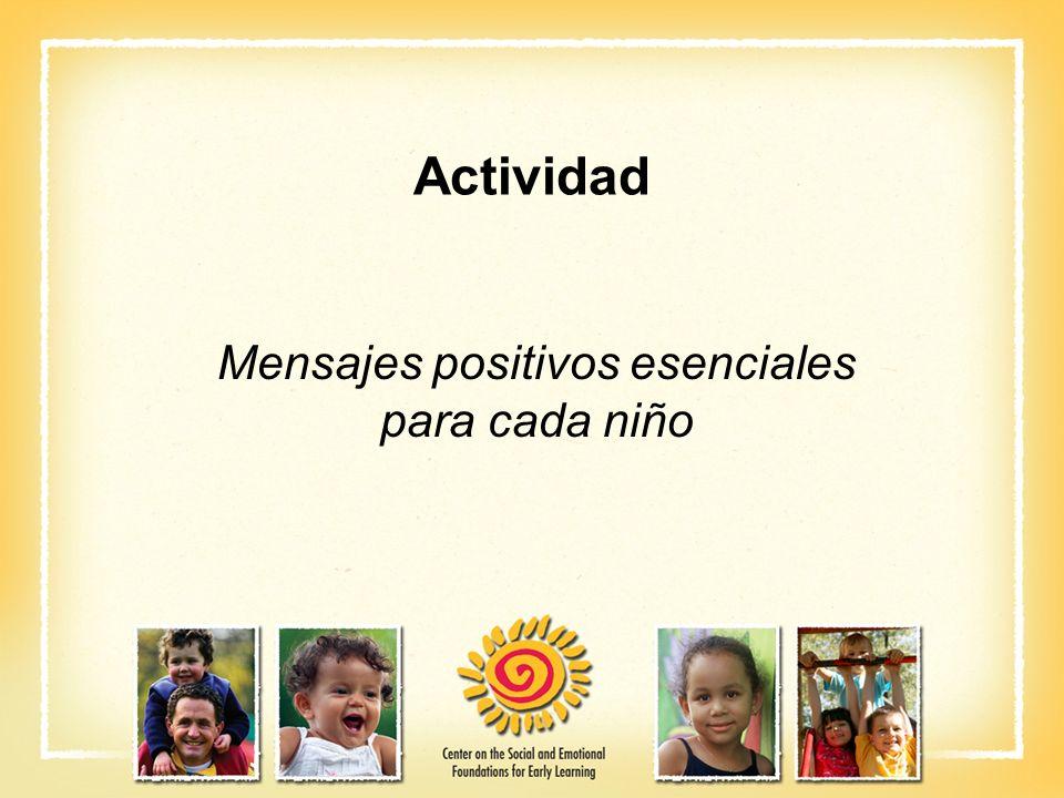 Actividad Mensajes positivos esenciales para cada niño