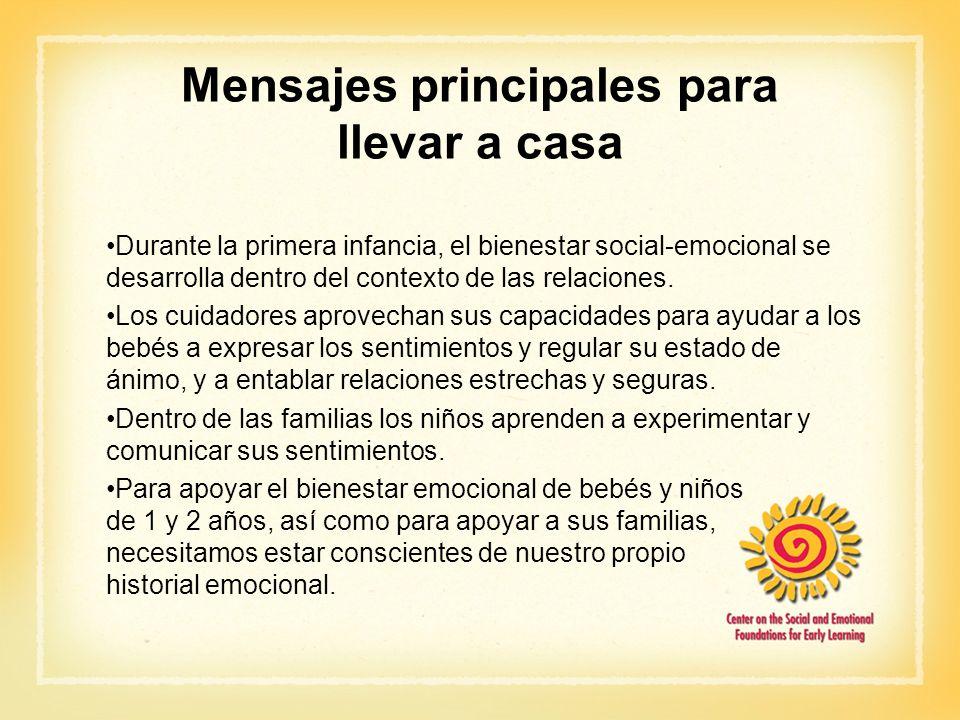 Mensajes principales para llevar a casa Durante la primera infancia, el bienestar social-emocional se desarrolla dentro del contexto de las relaciones