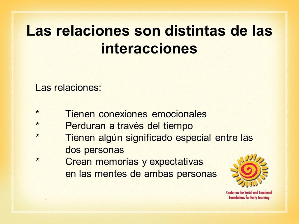Las relaciones son distintas de las interacciones Las relaciones: *Tienen conexiones emocionales *Perduran a través del tiempo *Tienen algún significa