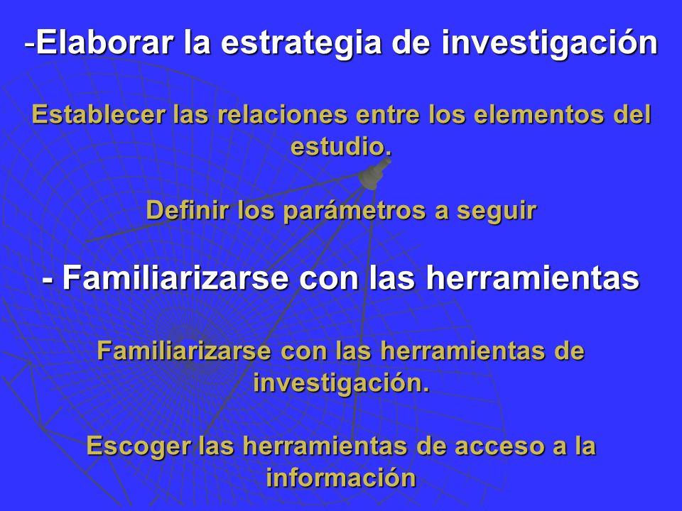 -Elaborar la estrategia de investigación Establecer las relaciones entre los elementos del estudio.