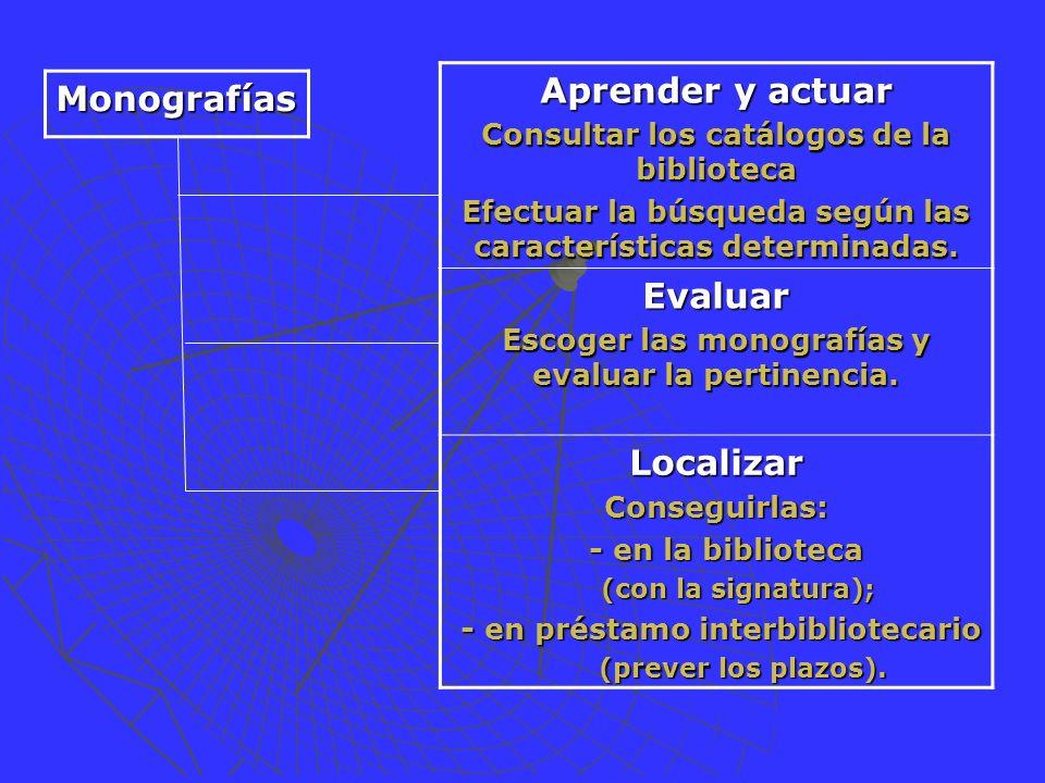 Aprender y actuar Consultar los catálogos de la biblioteca Efectuar la búsqueda según las características determinadas.