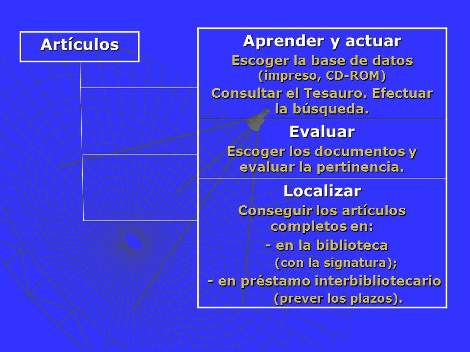 Aprender y actuar Escoger la base de datos (impreso, CD-ROM) Consultar el Tesauro.