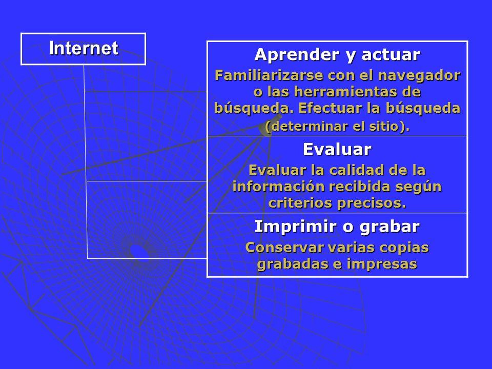 Aprender y actuar Familiarizarse con el navegador o las herramientas de búsqueda.