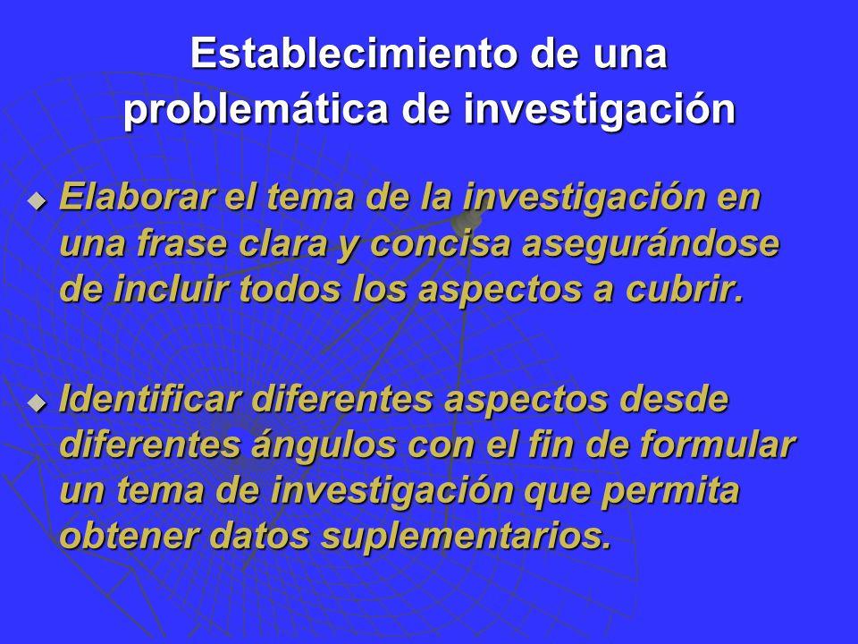 Establecimiento de una problemática de investigación Elaborar el tema de la investigación en una frase clara y concisa asegurándose de incluir todos los aspectos a cubrir.