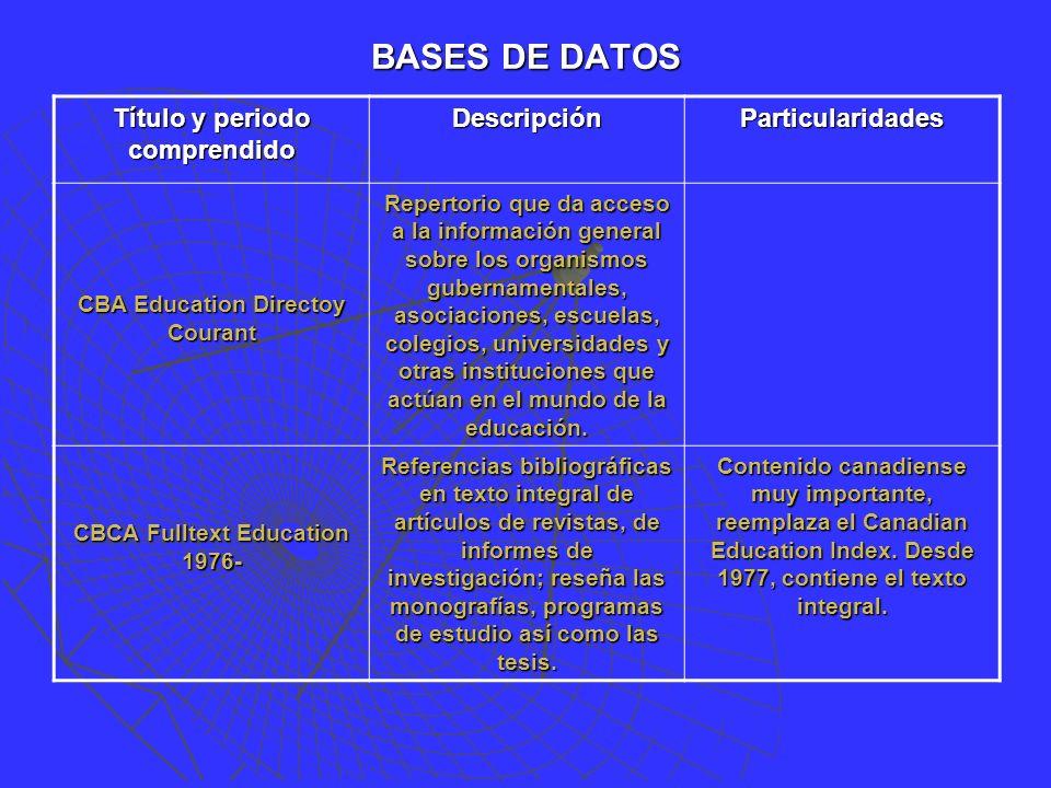 BASES DE DATOS Título y periodo comprendido DescripciónParticularidades CBA Education Directoy Courant Repertorio que da acceso a la información general sobre los organismos gubernamentales, asociaciones, escuelas, colegios, universidades y otras instituciones que actúan en el mundo de la educación.