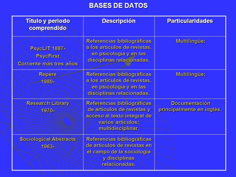 BASES DE DATOS Título y periodo comprendido DescripciónParticularidades PsycLIT 1887- PsycFirst Corriente más tres años Referencias bibliográficas a los artículos de revistas, en psicología y en las disciplinas relacionadas.