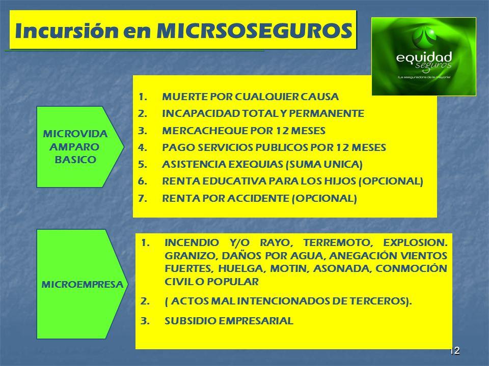 12 Incursión en MICRSOSEGUROS MICROVIDA AMPARO BASICO MICROEMPRESA 1.MUERTE POR CUALQUIER CAUSA 2.INCAPACIDAD TOTAL Y PERMANENTE 3.MERCACHEQUE POR 12