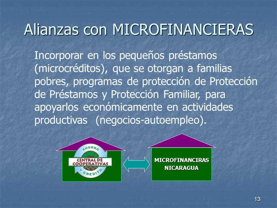 13 Alianzas con MICROFINANCIERAS Incorporar en los pequeños préstamos (microcréditos), que se otorgan a familias pobres, programas de protección de Pr