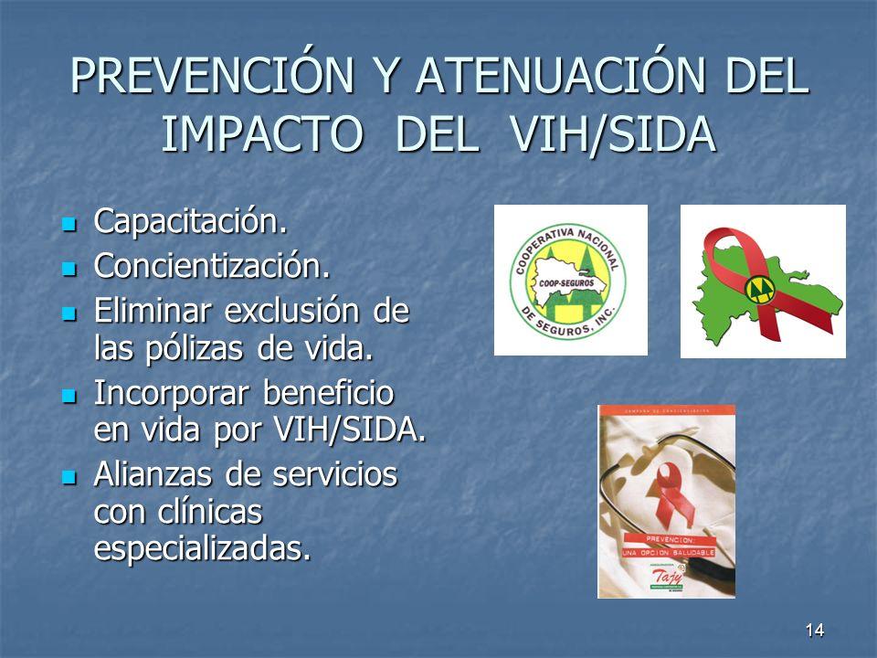 14 PREVENCIÓN Y ATENUACIÓN DEL IMPACTO DEL VIH/SIDA Capacitación. Capacitación. Concientización. Concientización. Eliminar exclusión de las pólizas de