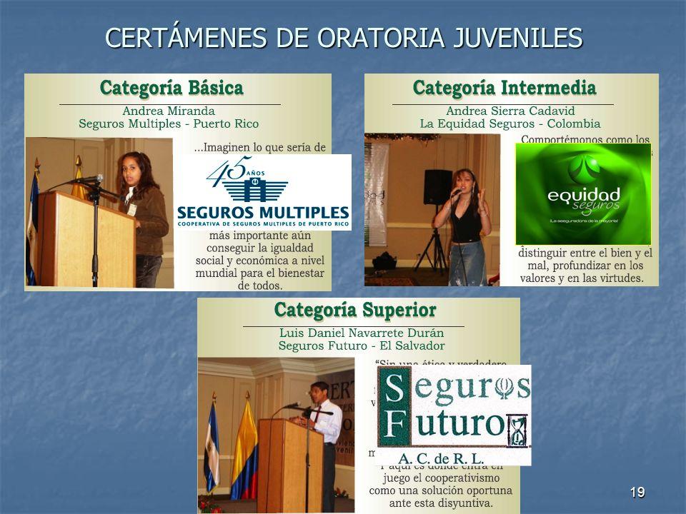 19 CERTÁMENES DE ORATORIA JUVENILES