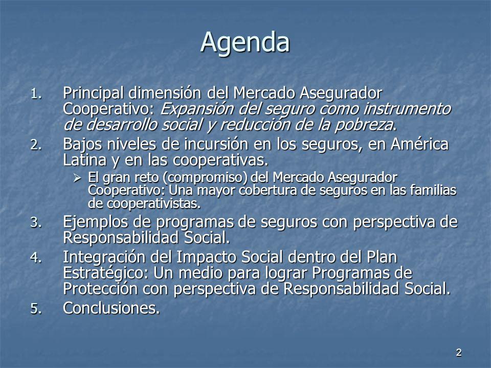 2 Agenda 1. Principal dimensión del Mercado Asegurador Cooperativo: Expansión del seguro como instrumento de desarrollo social y reducción de la pobre