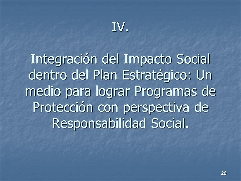 20 IV. Integración del Impacto Social dentro del Plan Estratégico: Un medio para lograr Programas de Protección con perspectiva de Responsabilidad Soc