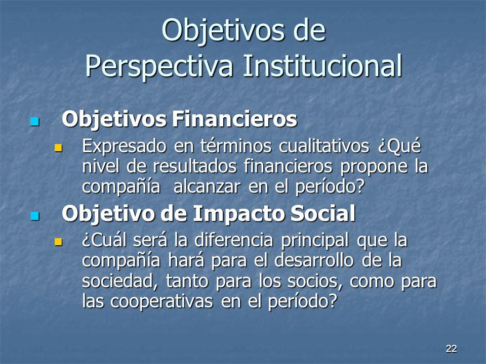 22 Objetivos de Perspectiva Institucional Objetivos Financieros Objetivos Financieros Expresado en términos cualitativos ¿Qué nivel de resultados fina