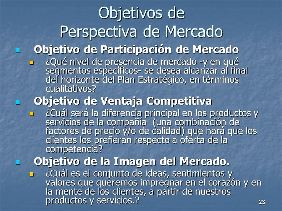 23 Objetivo de Participación de Mercado Objetivo de Participación de Mercado ¿Qué nivel de presencia de mercado -y en qué segmentos específicos- se de