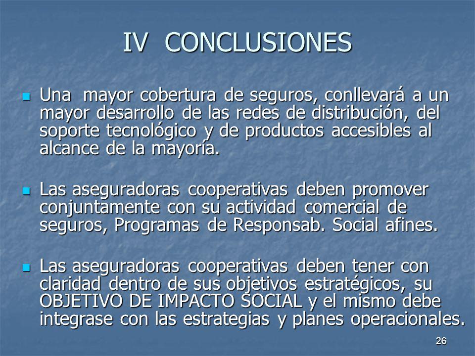 26 IV CONCLUSIONES Una mayor cobertura de seguros, conllevará a un mayor desarrollo de las redes de distribución, del soporte tecnológico y de product