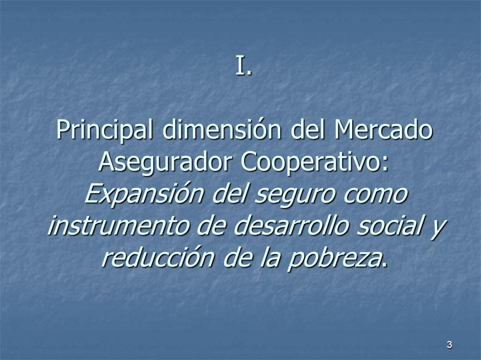 3 I. Principal dimensión del Mercado Asegurador Cooperativo: Expansión del seguro como instrumento de desarrollo social y reducción de la pobreza.