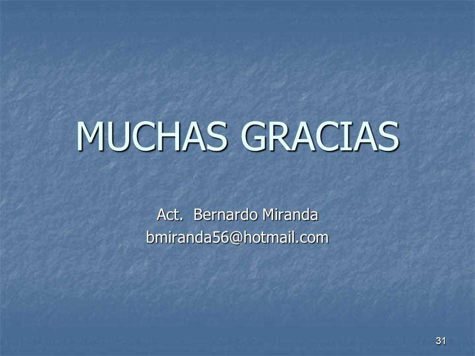 31 MUCHAS GRACIAS Act. Bernardo Miranda bmiranda56@hotmail.com