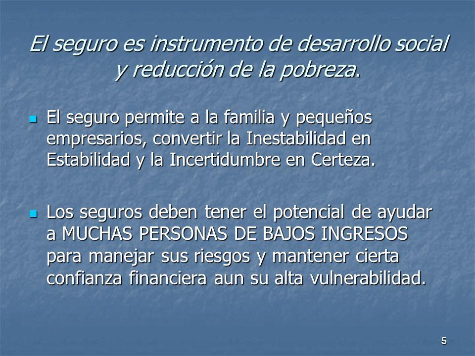 5 El seguro es instrumento de desarrollo social y reducción de la pobreza. El seguro permite a la familia y pequeños empresarios, convertir la Inestab