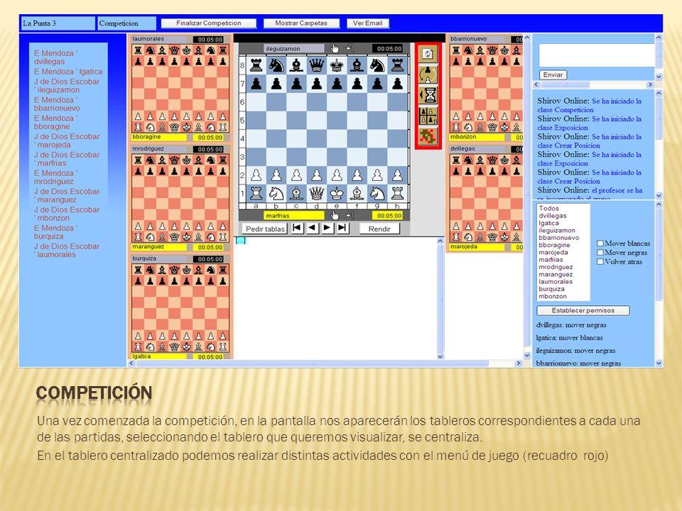 Una vez comenzada la competición, en la pantalla nos aparecerán los tableros correspondientes a cada una de las partidas, seleccionando el tablero que queremos visualizar, se centraliza.