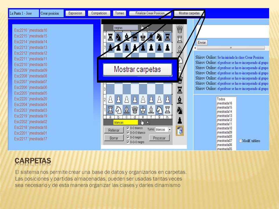 El sistema nos permite crear una base de datos y organizarlos en carpetas.