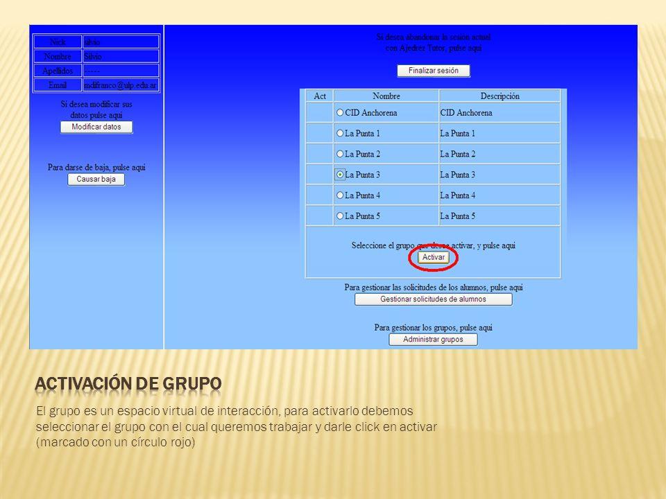 El grupo es un espacio virtual de interacción, para activarlo debemos seleccionar el grupo con el cual queremos trabajar y darle click en activar (marcado con un círculo rojo)