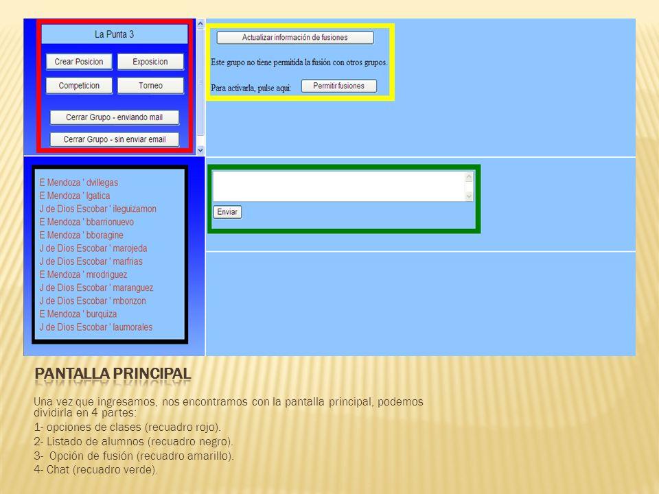Una vez que ingresamos, nos encontramos con la pantalla principal, podemos dividirla en 4 partes: 1- opciones de clases (recuadro rojo).