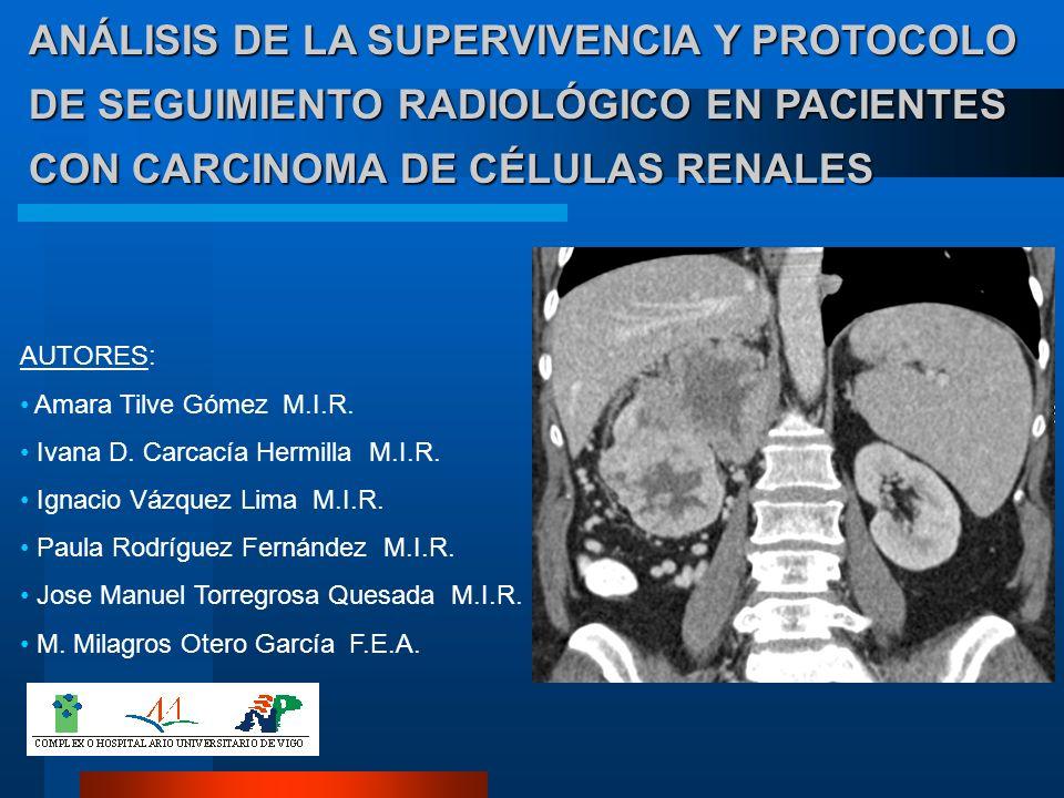 ANÁLISIS DE LA SUPERVIVENCIA Y PROTOCOLO DE SEGUIMIENTO RADIOLÓGICO EN PACIENTES CON CARCINOMA DE CÉLULAS RENALES AUTORES: Amara Tilve Gómez M.I.R. Iv