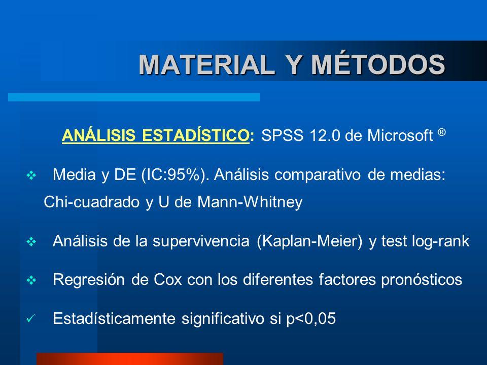 MATERIAL Y MÉTODOS MATERIAL Y MÉTODOS ANÁLISIS ESTADÍSTICO: SPSS 12.0 de Microsoft ® Media y DE (IC:95%). Análisis comparativo de medias: Chi-cuadrado