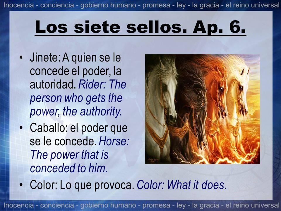 Los siete sellos. Ap. 6. Jinete: A quien se le concede el poder, la autoridad. Rider: The person who gets the power, the authority. Caballo: el poder