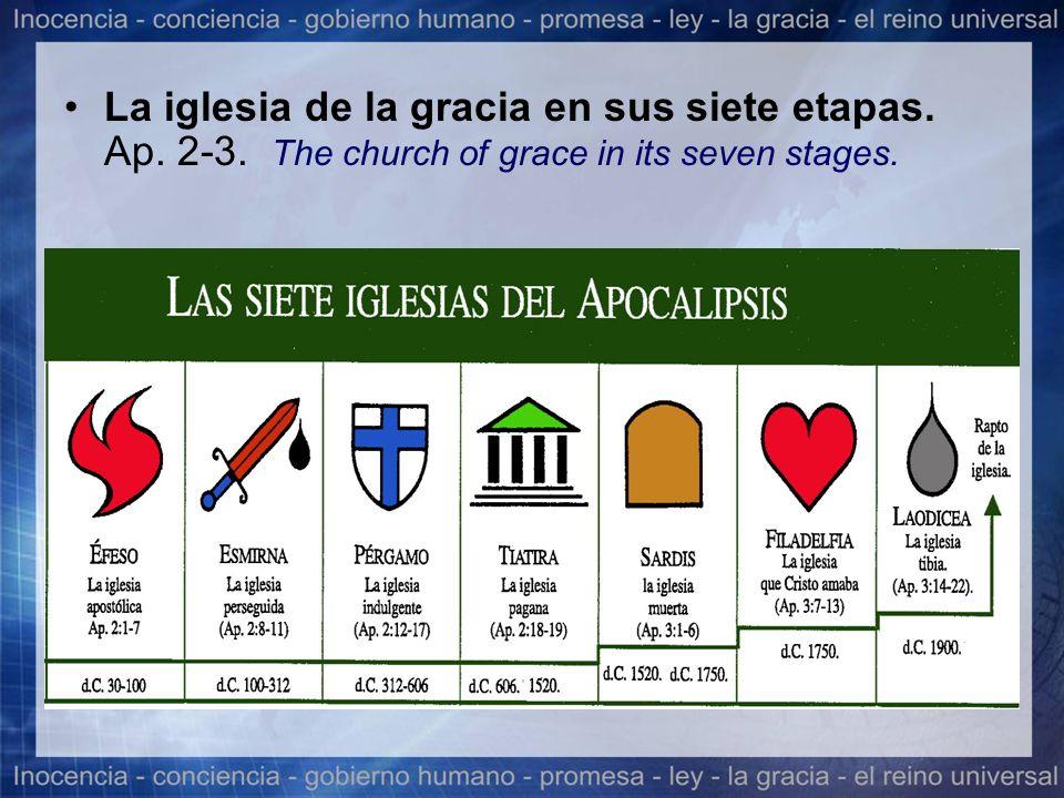 La iglesia de la gracia en sus siete etapas. Ap. 2-3. The church of grace in its seven stages.