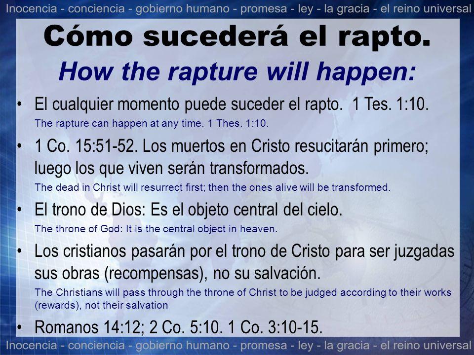 El cualquier momento puede suceder el rapto. 1 Tes. 1:10. The rapture can happen at any time. 1 Thes. 1:10. 1 Co. 15:51-52. Los muertos en Cristo resu