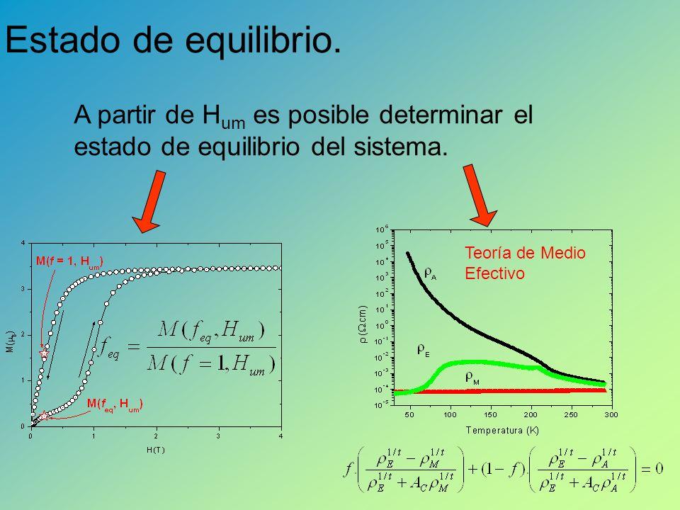 Estado de equilibrio.A partir de H um es posible determinar el estado de equilibrio del sistema.