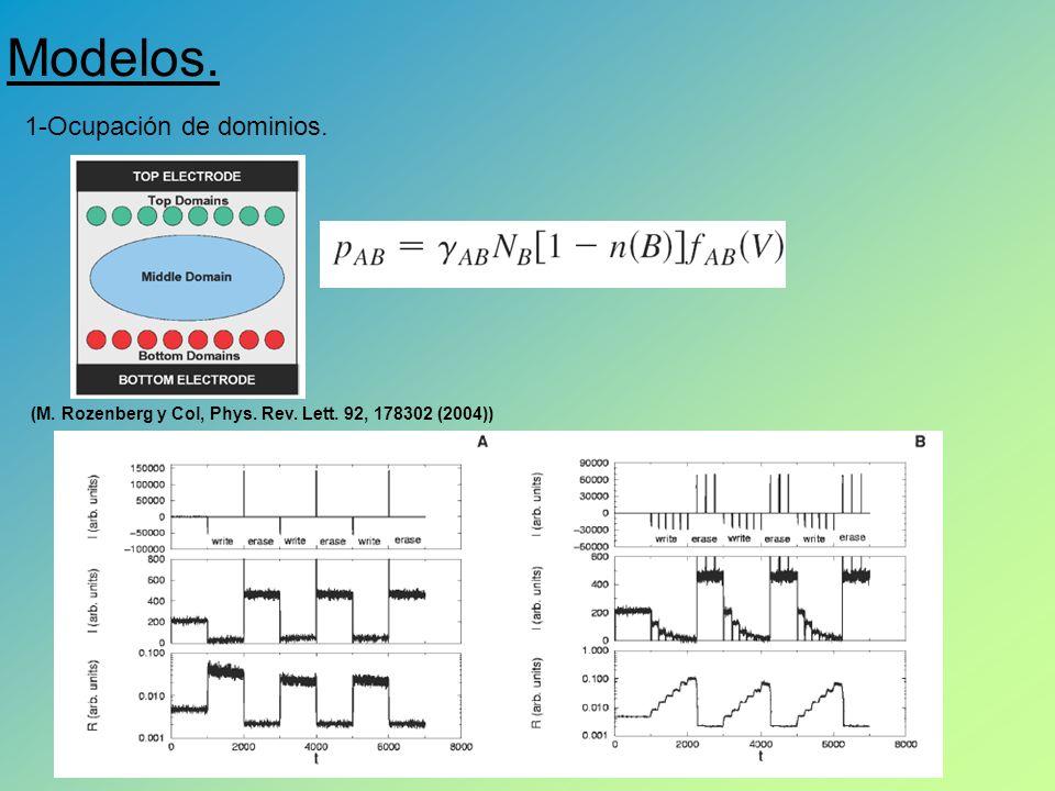 Modelos. 1-Ocupación de dominios. (M. Rozenberg y Col, Phys. Rev. Lett. 92, 178302 (2004))