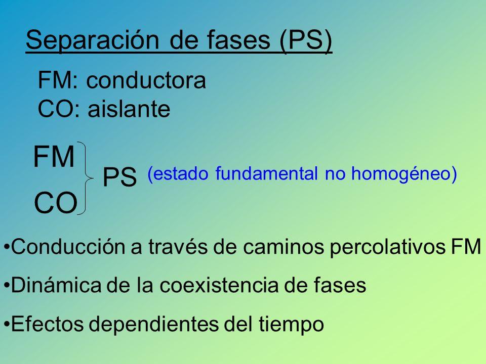 Separación de fases (PS) FM CO PS (estado fundamental no homogéneo) Conducción a través de caminos percolativos FM Dinámica de la coexistencia de fases Efectos dependientes del tiempo FM: conductora CO: aislante
