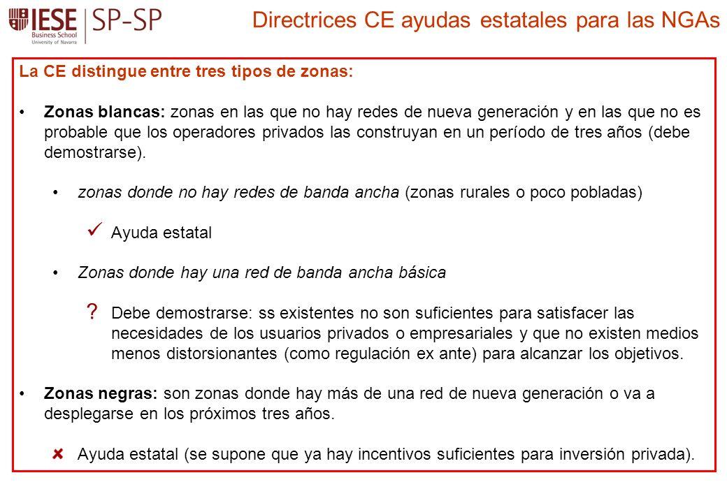La CE distingue entre tres tipos de zonas: Zonas blancas: zonas en las que no hay redes de nueva generación y en las que no es probable que los operadores privados las construyan en un período de tres años (debe demostrarse).