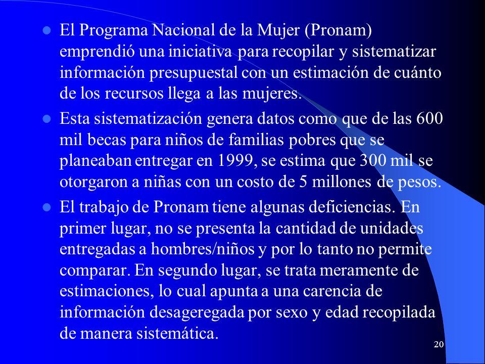 20 El Programa Nacional de la Mujer (Pronam) emprendió una iniciativa para recopilar y sistematizar información presupuestal con un estimación de cuánto de los recursos llega a las mujeres.