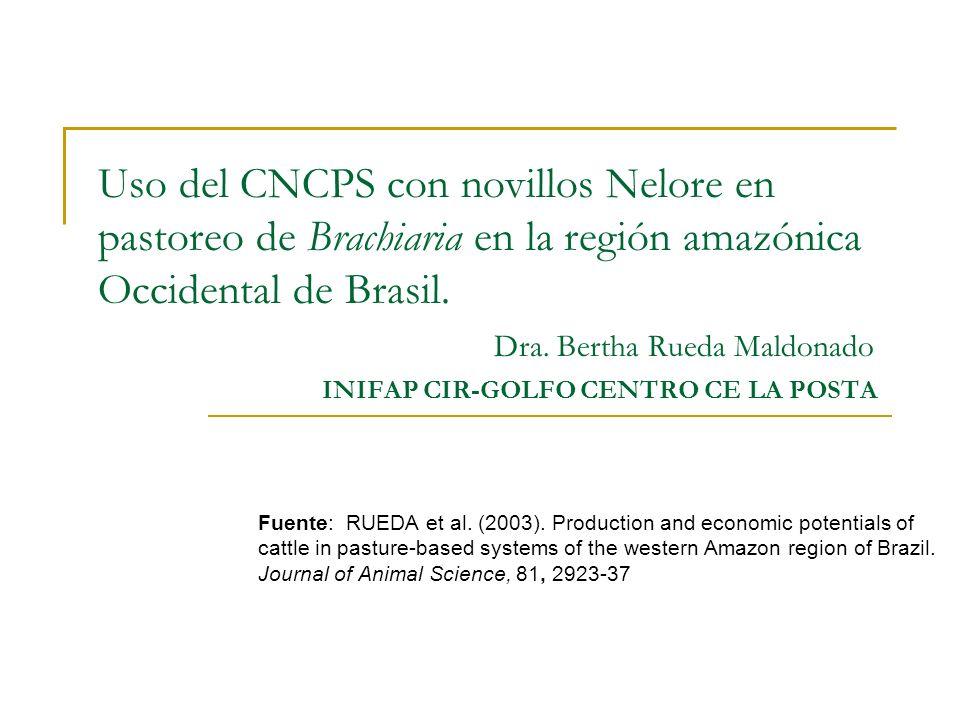 Uso del CNCPS con novillos Nelore en pastoreo de Brachiaria en la región amazónica Occidental de Brasil. Dra. Bertha Rueda Maldonado INIFAP CIR-GOLFO