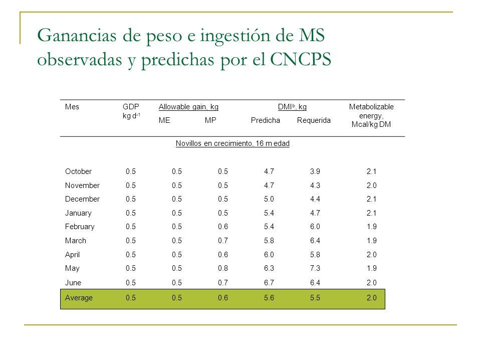 Ganancias de peso e ingestión de MS observadas y predichas por el CNCPS MesGDP kg d -1 Allowable gain, kgDMI b, kgMetabolizable energy, Mcal/kg DM MEM