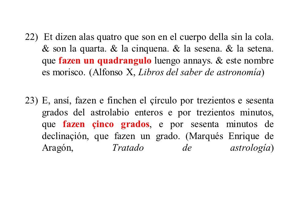 22) Et dizen alas quatro que son en el cuerpo della sin la cola.