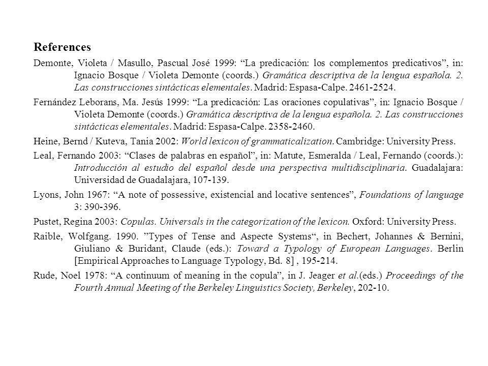 References Demonte, Violeta / Masullo, Pascual José 1999: La predicación: los complementos predicativos, in: Ignacio Bosque / Violeta Demonte (coords.) Gramática descriptiva de la lengua española.