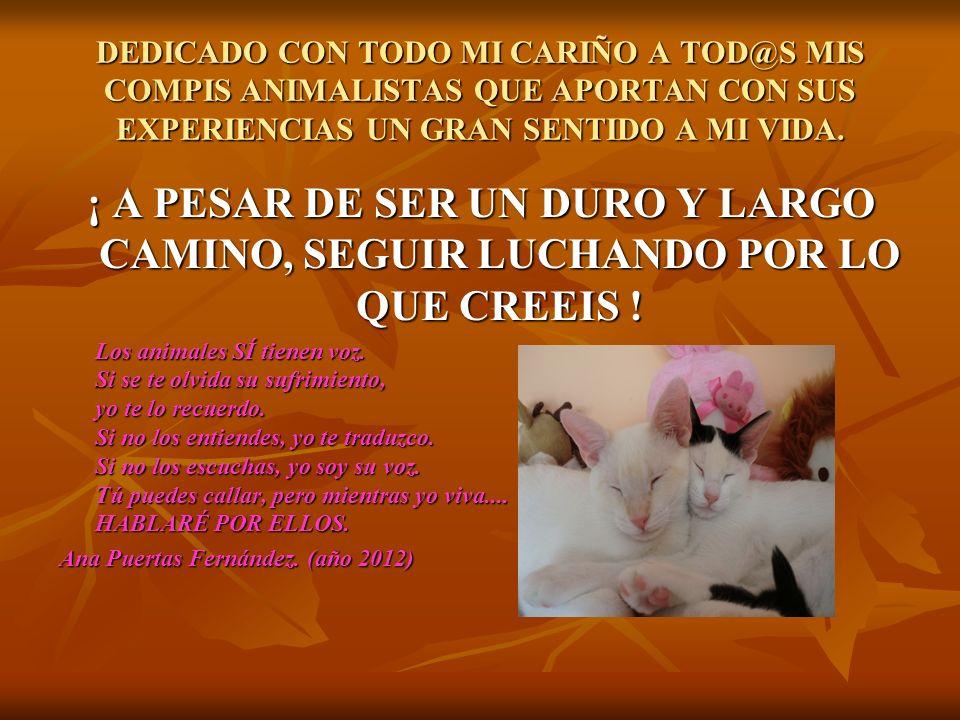 DEDICADO CON TODO MI CARIÑO A TOD@S MIS COMPIS ANIMALISTAS QUE APORTAN CON SUS EXPERIENCIAS UN GRAN SENTIDO A MI VIDA.