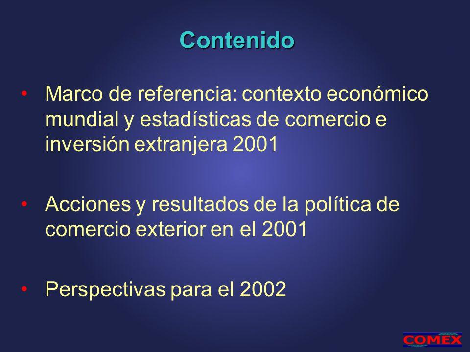 Contenido Marco de referencia: contexto económico mundial y estadísticas de comercio e inversión extranjera 2001 Acciones y resultados de la política