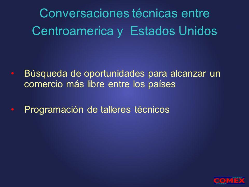 Conversaciones técnicas entre Centroamerica y Estados Unidos Búsqueda de oportunidades para alcanzar un comercio más libre entre los países Programación de talleres técnicos