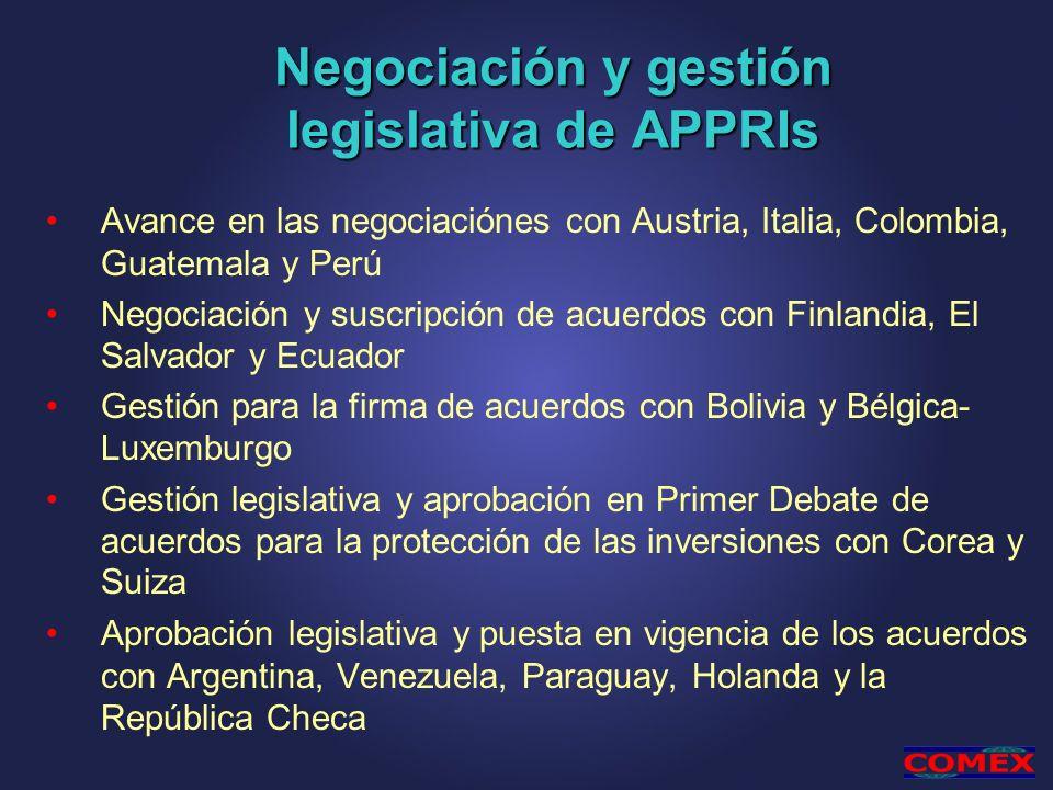 Negociación y gestión legislativa de APPRIs Avance en las negociaciónes con Austria, Italia, Colombia, Guatemala y Perú Negociación y suscripción de a
