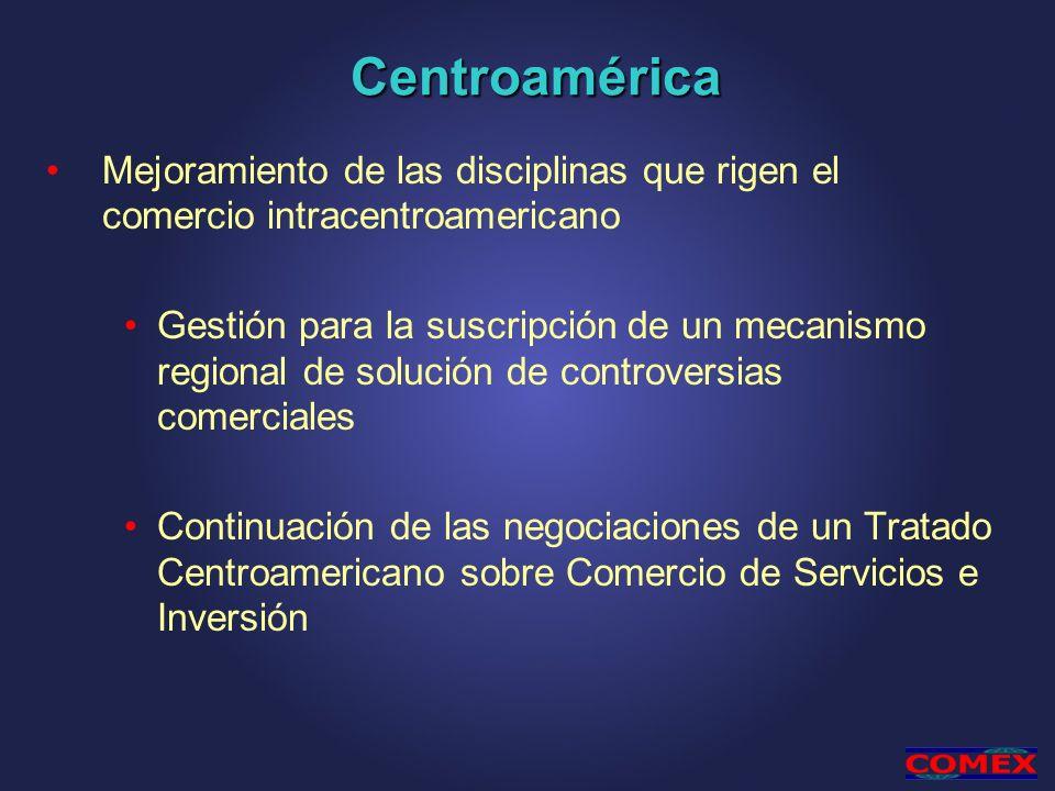 Centroamérica Mejoramiento de las disciplinas que rigen el comercio intracentroamericano Gestión para la suscripción de un mecanismo regional de solución de controversias comerciales Continuación de las negociaciones de un Tratado Centroamericano sobre Comercio de Servicios e Inversión