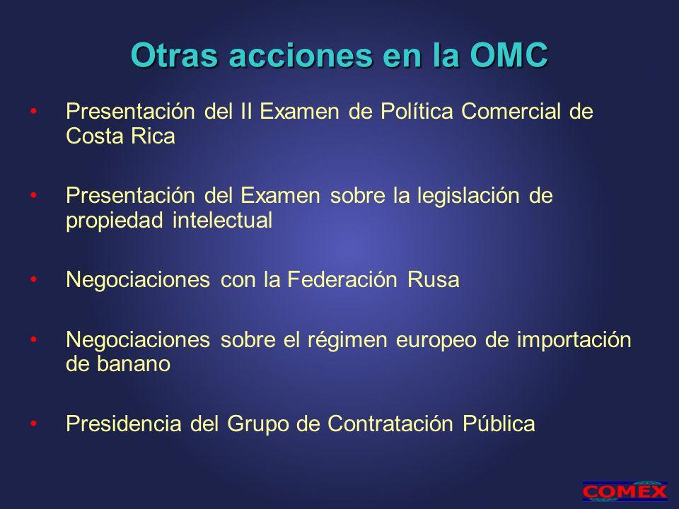 Otras acciones en la OMC Presentación del II Examen de Política Comercial de Costa Rica Presentación del Examen sobre la legislación de propiedad inte
